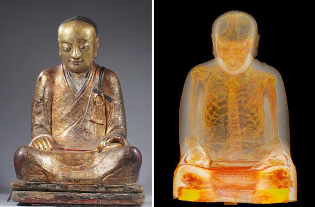 moench-mumifiziert-statue